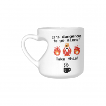 InterestPrint Kitchen & Dining Funny Quote Ceramic Coffee Mug Cup with Love Heart Shaped Handle-White-10.3 oz-Funny Quote-It's Dangerous to Go Alone! Take This
