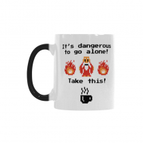 InterestPrint Kitchen & Dining Funny Quote Morphing Mug Heat Sensitive Color Changing Mug Ceramic Coffee Mug Cup-White-11 oz-Funny Quote-It's Dangerous to Go Alone! Take This