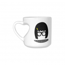 InterestPrint Kitchen & Dining Tina Belcher Ceramic Coffee Mug Cup with Love Heart Shaped Handle-White-10.3 oz-Tina Belcher Funny Uhhhhhhhh Face