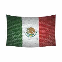 InterestPrint Home Decor, Brick Wall with Mexico Flag Cotton Linen Tapestry Wall Hanging Art Sets