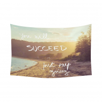 InterestPrint Inspirational Quote Wall Art Home Decor, Sunset Calm Sunny Beach Cotton Linen Tapestry Wall Hanging Art Sets