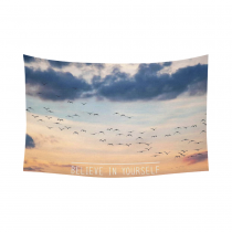 InterestPrint Beautiful Sunset Sky Wall Art Home Decor, Inspirational Quote Cotton Linen Tapestry Wall Hanging Art Sets