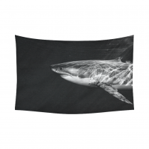 InterestPrint Animal Wall Art Home Decor, Great White Shark while Coming to You Cotton Linen Tapestry Wall Hanging Art Sets