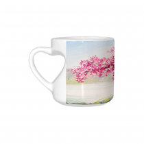 InterestPrint Kitchen & Dining Romantic Cherry Blossom Tree Ceramic Coffee Mug Cup with Love Heart Shaped Handle-White-10.3 oz-Japanese Pink Cherry Tree Blossom Flower Lake