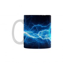 InterestPrint Kitchen & Dining Space the Earth Ceramic Coffee Mug Cup-White-11 oz-Abstract the Earth Art Lightining Ball Ice Fire Cold Hot Blue Red Color
