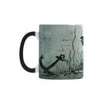 InterestPrint Kitchen & Dining Sea Pirate Octopus Morphing Mug Heat Sensitive Color Changing Mug Ceramic Coffee Mug Cup-White-11 oz-Underwater Giant Pirate Octopus Attack Gold Coins Fish Anchor Ocean