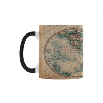 InterestPrint Kitchen & Dining Vintage World Map Morphing Mug Heat Sensitive Color Changing Mug Ceramic Coffee Mug Cup-White-11 oz-Ancient Old Style World Map Art Western and Eastern Hemispheres