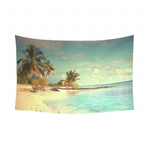 InterestPrint Ocean theme Wall Art Home Decor, Beautiful Maldives Beach with Palms and Blue Sea Cotton Linen Tapestry Wall Hanging Art Sets