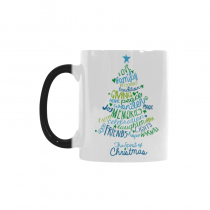 InterestPrint Merry Christmas Tree with Warm Words 11oz Heat Sensitive Color Changing Morphing Coffee Mug Tea Cup Travel Bulk, Funny Unique Birthday Gift for Him Her