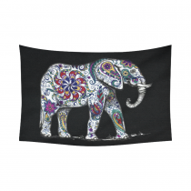InterestPrint Animal Wall Art Home Decor, Indian Elephant with Floral Patterns Cotton Linen Tapestry Wall Hanging Art Sets