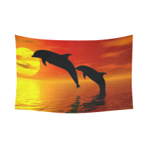 InterestPrint Cute Animal Wall Art Home Decor, Two Dolphin in the Ocean at Sunset Cotton Linen Tapestry Wall Hanging Art Sets