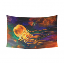 InterestPrint Underwater Wall Art Home Decor, Ocean Animal Jellyfish Cotton Linen Tapestry Wall Hanging Art Sets
