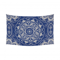 Interestprint Indian Tribal Hippie Hippy Buddhist Lotus Flower Blue Mandala Tapestry Wall Hanging Bohemian Boho Henna Medallion Wall Decor Art Cotton Linen for Home Decoration