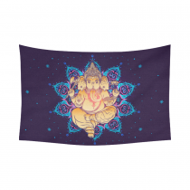 Interestprint Indian Tribal Hippie Hippy Ganesha Buddhist Mandala Tapestry Wall Hanging Bohemian Boho Batik Elephant Meditation Wall Decor Art Cotton Linen for Home Decoration