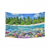 Interestprint Beach Island Palm Tree Colorful Coral Blue Underwater Tapestry Wall Hanging Tropical Seascape Wall Decor Art for Living Room Bedroom Dorm Cotton Linen Decoration
