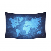Interestprint Blue Watercolor Vintage World Map Tapestry Wall Hanging Abstract Art Splatter Painting Wall Decor Art for Living Room Bedroom Dorm Cotton Linen Decoration