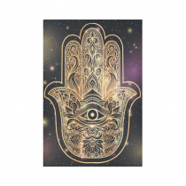 Interestprint Galaxy Golden Hamsa Hand Tapestry Wall Hanging Boho Buddha Wall Decor Art for Living Room Bedroom Dorm Cotton Linen Decoration