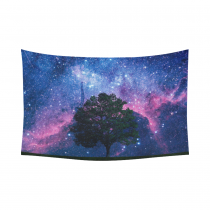 Interestprint Night Sky Lonely Tree Starry Night Tapestry Wall Hanging Galaxy Nebula Outer Space Celestial Wall Decor Art for Living Room Bedroom Dorm Cotton Linen Decoration