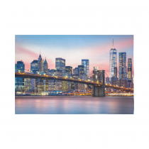 Interestprint NYC New York Skyline Cityscape Brooklyn Bridge Tapestry Wall Hanging Manhattan Sunset Wall Decor Art for Living Room Bedroom Dorm Cotton Linen Decoration