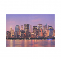 Interestprint NYC New York Skyline Tapestry Wall Hanging Cityscape Purple Sunset Wall Decor Art for Living Room Bedroom Dorm Cotton Linen Decoration