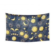 Interestprint Colorful Retro Sun Moon Star Pattern Sign Zodiac Tapestry Wall Hanging Blue Gold Yellow Wall Decor Art for Living Room Bedroom Dorm Cotton Linen Decoration
