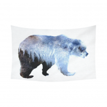 InterestPrint Animal Wall Art Home Decor, Bear Cotton Linen Tapestry Wall Hanging Art Sets
