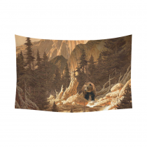 InterestPrint Sunset Forest Wall Art Home Decor, Brown Bear in the Rocky Mountains Cotton Linen Tapestry Wall Hanging Art Sets
