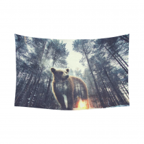 InterestPrint Animal Wall Art Home Decor, Bear and Pine Forest at sunset Cotton Linen Tapestry Wall Hanging Art Sets