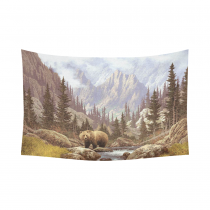 InterestPrint Animal Wall Art Home Decor, Grizzly Bear in the Rocky Mountains Cotton Linen Tapestry Wall Hanging Art Sets