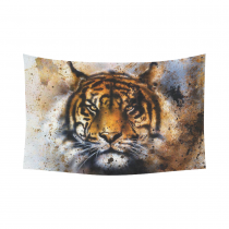 InterestPrint Watercolor Wall Art Home Decor, Tiger Spirit Cotton Linen Tapestry Wall Hanging Art Sets