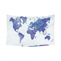 InterestPrint Abstract Wall Art Home Decor, World Map in Watercolor Purple Cotton Linen Tapestry Wall Hanging Art Sets