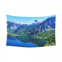 Interestprint Austria Snowy Mountain View Valley Lake Tapestry Wall Hanging Green Forest Landscape Wall Decor Art for Living Room Bedroom Dorm Cotton Linen Decoration