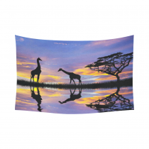 Interestprint African Wildlife Sunset Water Reflection Giraffe Tapestry Wall Hanging Nature Landscape Wall Decor Art for Living Room Bedroom Dorm Cotton Linen Decoration