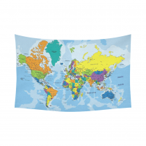 InterestPrint Educational Wall Art Home Decor, Colorful World Map Cotton Linen Tapestry Wall Hanging Art Sets