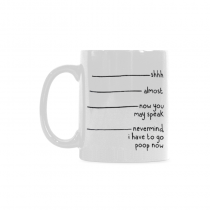 InterestPrint Shhh Almost Now You May Speak Nevermind I Have to Go Poop Now Quotes 11 Ounce Ceramic Travel Coffee Mug Tea Cup Set with Sayings - Funny Unique Birthday Gift for Mom Dad Friend Him Her