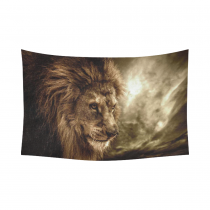 InterestPrint Animal Wall Art Home Decor, Brown Fierce Lion Against Stormy Sky Cotton Linen Tapestry Wall Hanging Art Sets