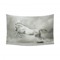 Interestprint Vintage Wildlife Running White Horse Tapestry Wall Hanging Black and White Animal Wall Decor Art for Living Room Bedroom Dorm Cotton Linen Decoration
