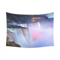 Interestprint Colorful Rainbow Niagara Stream Waterfall Tapestry Wall Hanging Landmark Nature Landscape Wall Decor Art for Living Room Bedroom Dorm Cotton Linen Decoration