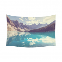 Interestprint Beautiful Moraine Lake Banff National Park Landscape Tapestry Horizontal Wall Hanging Mountain Lake Wall Decor Art for Living Room Bedroom Dorm Cotton Linen Decoration