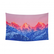 Interestprint Snowy Mountain Tapestry Horizontal Wall Hanging Sunset on Mountain Peaks Fantastic Landscape Wall Decor Art for Living Room Bedroom Dorm Cotton Linen Decoration