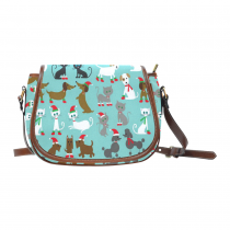 InterestPrint Blue Christmas Cat Dachshund Dog Messenger Crossbody Saddle Bag Purse