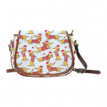 InterestPrint Christmas Dachshund Dog Striped Messenger Crossbody Saddle Bag Purse