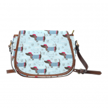 InterestPrint Blue Dog Paw Print Dachshund Striped Messenger Crossbody Saddle Bag Purse