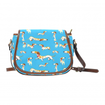 InterestPrint Blue Cute Dachshund Dog Messenger Crossbody Travel Saddle Bag Purse