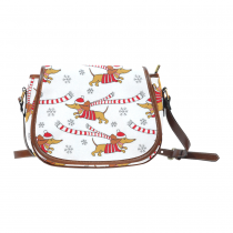 InterestPrint Christmas Dachshund Snowflake Striped Messenger Crossbody Saddle Bag Purse