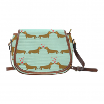 InterestPrint Green Polka Dot Dachshund Love Heart Messenger Crossbody Saddle Bag Purse