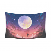 Interestprint Woman and Dog at Beautiful Night with Huge Full Moon Tapestry Horizontal Wall Hanging Alen Landscape Wall Decor Art for Living Room Bedroom Dorm Cotton Linen Decoration
