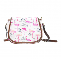 InterestPrint White Palm Tree Flamingo Messenger Crossbody Travel Saddle Bag Purse