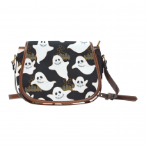 InterestPrint Black Ghost Halloween Messenger Crossbody Travel Saddle Bag Purse