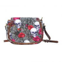 InterestPrint Rose Sugar Skulls Watercolor Messenger Crossbody Saddle Bag Purse